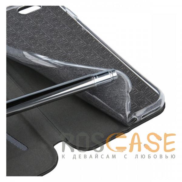 Изображение Черный Open Color | Кожаный чехол-книжка для Xiaomi Redmi Note 4X / Note 4 с функцией подставки и магнитом