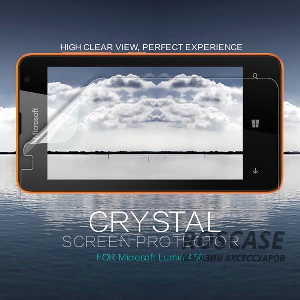 Защитная пленка Nillkin Crystal для Microsoft Lumia 430  (Анти-отпечатки)Описание:бренд:&amp;nbsp;Nillkin;совместима с Microsoft Lumia 430;материал: полимер;тип: защитная пленка.&amp;nbsp;Особенности:в наличии все необходимые функциональные вырезы;не влияет на чувствительность сенсора;глянцевая поверхность;свойство анти-отпечатки;не желтеет;легко очищается.<br><br>Тип: Защитная пленка<br>Бренд: Nillkin