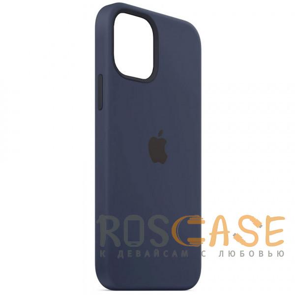 Фотография Темно синий Силиконовый чехол Silicone Case с микрофиброй для iPhone 12 Mini