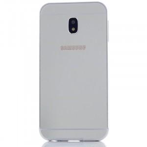 Металлический бампер для Samsung J330 Galaxy J3 (2017) с зеркальной вставкой