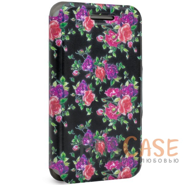 Универсальный чехол-книжка Gresso Виктория-Розы для смартфона 4.5-4.8 дюйма (Черный)<br><br>Тип: Чехол<br>Бренд: Gresso<br>Материал: Искусственная кожа