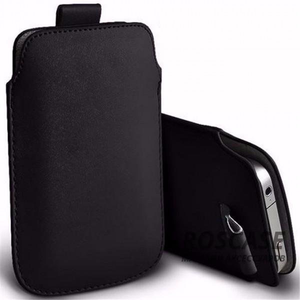 Кожаный чехол футляр с язычком для телефона 3.5-4.8 дюйма (Черный)