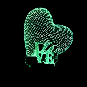 """Светодиодный 3D светильник-ночник с проекцией объемного изображения """"LOVE"""""""