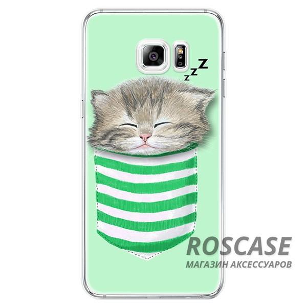 Тонкий силиконовый чехол с принтом Милые котята для Samsung Galaxy S6 Edge Plus (Котенок в кармане)Описание:совместимость  -  смартфон Samsung Galaxy S6 Edge Plus;материал  -  силикон;форм-фактор  -  накладка.Особенности:оригинальный дизайн;обладает хорошей гибкостью и эластичностью;не деформируется;легко фиксируется;не скользит в руках.<br><br>Тип: Чехол<br>Бренд: Epik<br>Материал: TPU