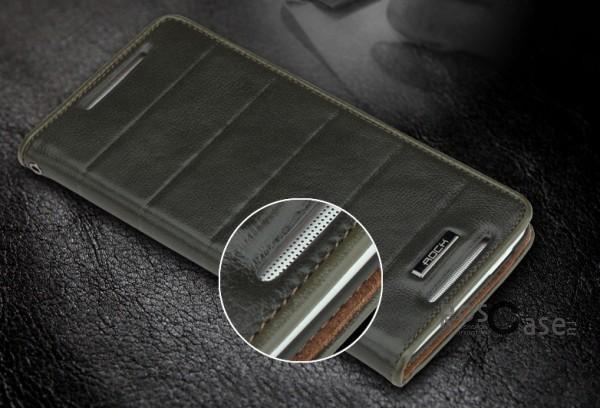отверстие для динамика в  кожаном чехле-книжке Rock Elite для HTC One MAX