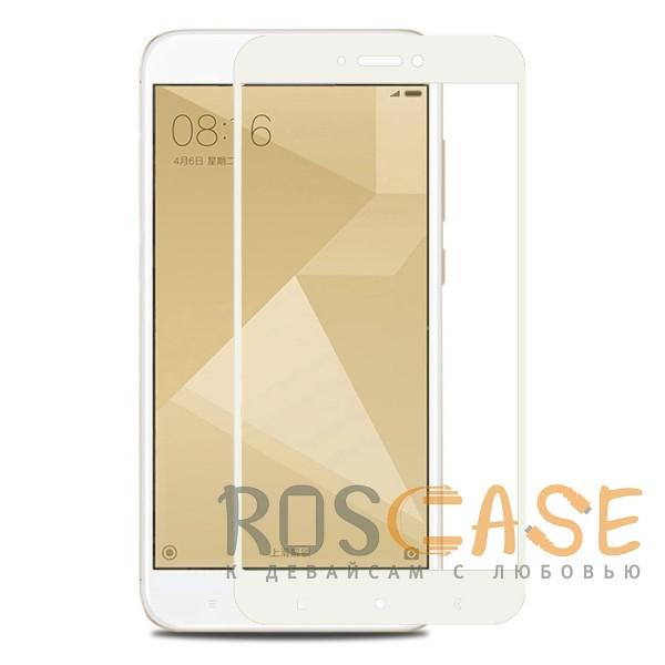 Фото Белое 5D защитное стекло для Xiaomi Redmi 4X на весь экран