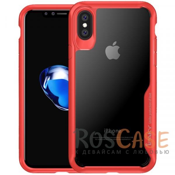 Прозрачный глянцевый чехол iPaky Luckcool с цветными силиконовыми вставками для защиты краев и камеры для Apple iPhone X (5.8) (Красный)Описание:бренд - iPaky;разработан для Apple iPhone X (5.8);материалы - термополиуретан, акрил;прозрачная задняя панель;цветная окантовка;дополнительная защита боковых кнопок;выступающие бортики вокруг камеры защищают ее от царапин;предусмотрены все вырезы.<br><br>Тип: Чехол<br>Бренд: iPaky<br>Материал: Пластик