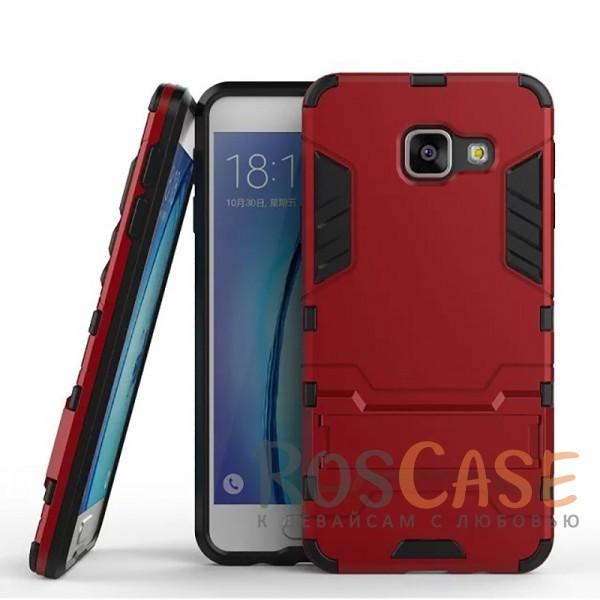 Ударопрочный чехол-подставка Transformer для Samsung A310F Galaxy A3 (2016) с мощной защитой корпуса (Красный / Dante Red)Описание:совместим с Samsung A310F Galaxy A3 (2016);материал для изготовления - поликарбонат/термополиуретан;форм-фактор  -  накладка.Особенности:легкая фиксация и отсутствие скольжения;ударостойкость;морозоустойчивость;есть функция подставки.<br><br>Тип: Чехол<br>Бренд: Epik<br>Материал: TPU