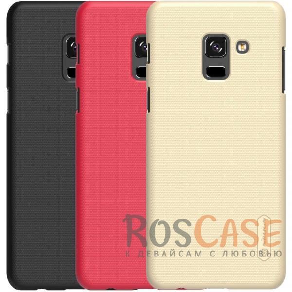 Матовый чехол для Samsung A530 Galaxy A8 (2018) (+ пленка)Описание:совместимость: Samsung A530 Galaxy A8 (2018);материал: поликарбонат;тип: накладка;закрывает заднюю панель и боковые грани;защищает от ударов и царапин;рельефная фактура;не скользит в руках;ультратонкий дизайн;защитная плёнка на экран в комплекте.<br><br>Тип: Чехол<br>Бренд: Nillkin<br>Материал: Поликарбонат