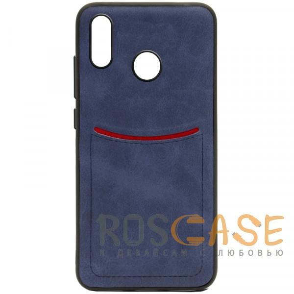 Фото Синий ILEVEL | Чехол с кожаным покрытием и с карманом-визитницей для Huawei P Smart+ (nova 3i)