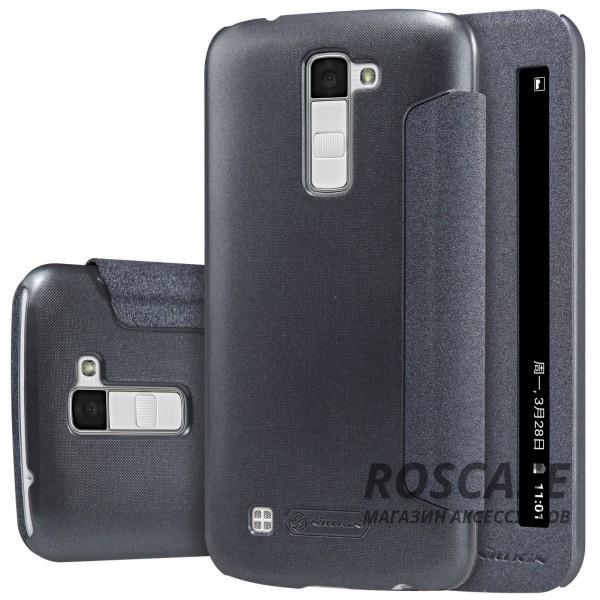 Кожаный чехол (книжка) Nillkin Sparkle Series для LG K10 K410/K430DS (Черный)Описание:бренд&amp;nbsp;Nillkin;разработан для LG K10 K410/K430DS;материал: искусственная кожа, поликарбонат;тип: чехол-книжка.Особенности:не скользит в руках;окошко в обложке;функция Sleep mode;защита от механических повреждений;блестящая поверхность.<br><br>Тип: Чехол<br>Бренд: Nillkin<br>Материал: Искусственная кожа