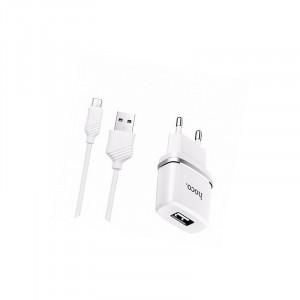 Зарядное устройство Hoco C11 USB 1/1A + кабель micro-USB 1м для iPad Air