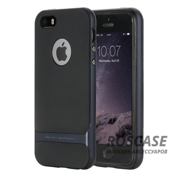 TPU+PC чехол Rock Royce Cross Series для Apple iPhone 5/5S/SE (Черный / Синий)Описание:производитель  -  компания&amp;nbsp;Rock;совместим с Apple iPhone 5/5S/SE;материалы  -  полиуретан, поликарбонат;тип  -  накладка.&amp;nbsp;Особенности:тонкий и легкий;окантовка из поликарбоната;в наличии все функциональные вырезы;легкая очистка;хорошее сцепление с поверхностями;защищает от механических повреждений;легкая установка и удаление.<br><br>Тип: Чехол<br>Бренд: ROCK<br>Материал: TPU