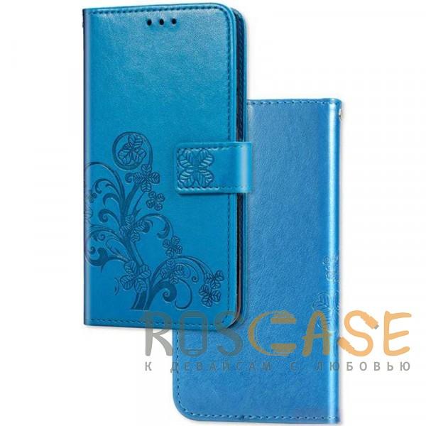 Фото Синий Кожаный чехол (книжка) Four-leaf Clover с визитницей для Xiaomi Mi 9T / Mi 9T Pro (Redmi K20 / K20 Pro)
