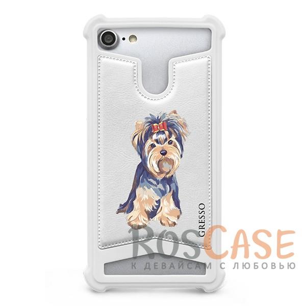 Универсальный чехол-накладка с противоударным бампером Gresso с картинкой собаки Пушистики-Йорк для смартфона 5.0-5.3 дюймаОписание:бренд -&amp;nbsp;Gresso;совместимость -&amp;nbsp;смартфоны с диагональю 5.0-5.3&amp;nbsp;дюйма;материал - искусственная кожа, силикон;тип - накладка;милый принт с изображением котика;предусмотрены все необходимые вырезы;силиконовый бампер;ударопрочная конструкция;ВНИМАНИЕ: убедитесь, что ваша модель устройства находится в пределах максимального размера чехла.&amp;nbsp;Размеры чехла: 14*7,5 см.<br><br>Тип: Чехол<br>Бренд: Gresso<br>Материал: Искусственная кожа