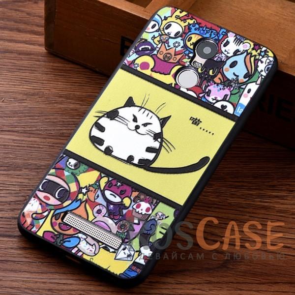 Пластиковая накладка Cats story tales с уникальным принтом-рисунком и надписями для Xiaomi Redmi Note 3 / Redmi Note 3 Pro (Желтый)<br><br>Тип: Чехол<br>Бренд: Epik<br>Материал: TPU