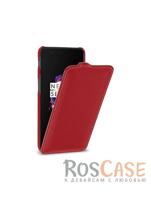 Фотография Красный / Red TETDED натур. кожа | Чехол-флип для OnePlus 5