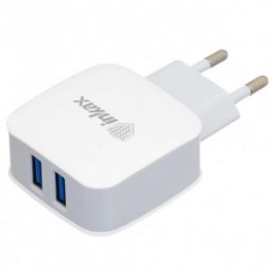 Inkax CD-28   Сетевое зарядное устройство на два выхода USB (2,1А) + кабель MicroUSB
