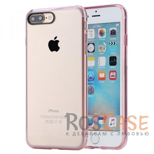 TPU+PC чехол Rock Pure Series для Apple iPhone 7 plus (5.5) (Розовый / Transparent pink)Описание:изготовлен компанией&amp;nbsp;Rock;совместим с Apple iPhone 7 plus (5.5);материалы  -  термополиуретан, поликарбонат;тип  -  накладка.&amp;nbsp;Особенности:ультратонкий;в наличии все функциональные вырезы;прозрачная;черная окантовка вокруг камеры для отсутствия блика от вспышки;не скользит в руках;рамка из поликарбоната;защита от царапин и ударов.<br><br>Тип: Чехол<br>Бренд: ROCK<br>Материал: TPU