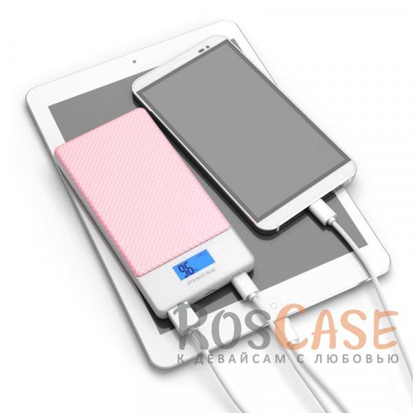 Фотография Розовый Портативное зарядное устройство в противоударном корпусе с ЖК дисплеем и 2 разъемами microUSB/Type-C 10000mAh