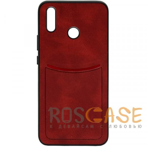 Фото Красный ILEVEL | Чехол с кожаным покрытием и с карманом-визитницей для Huawei P20 Lite