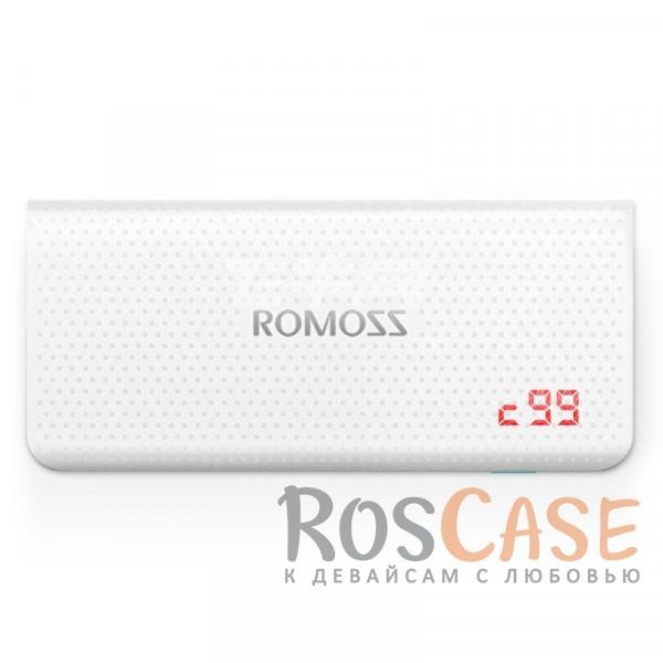 Дополнительный внешний аккумулятор ROMOSS Sense 4 LED (PH50-485-01) (10400mAh) (Белый)Описание:производитель  - &amp;nbsp;Romoss;совместимость  -  универсальная (смартфон, плеер, планшет и др.);материалы  -  ABS;тип  -  внешний аккумулятор.&amp;nbsp;Особенности:емкость  -  10400 mAh;вход  - &amp;nbsp;DC&amp;nbsp;5V 2.1A, выход -&amp;nbsp;USB1 - DC&amp;nbsp;5V 1A; USB2 - DC5V 2,1A;время полной зарядки - 13 часов;на перфорированной поверхности не видны царапины и отпечатки пальцев;2 разъема USB;размеры -&amp;nbsp;138x62x21,5 мм;вес - 296 гр;LED-индикатор заряда батареи;кабель microUSB в комплекте.<br><br>Тип: Внешний аккумулятор<br>Бренд: ROMOSS
