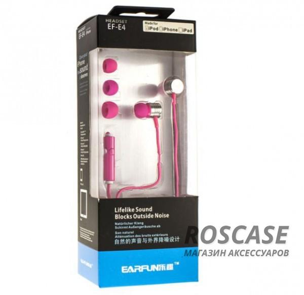 Вакуумные наушники Headset EF-E4 с плетеным кабелем и микрофоном (Розовый)Описание:универсальная совместимость;разъем  -  3,5 mini jack;тип  -  вакуумные наушники.&amp;nbsp;Особенности:микрофон;полное сопротивление: 30 Ом;чувствительность  -  105 Дб;частотный отклик  -  20-20000 Гц;плетеная оплетка шнура;длина кабеля  -  120 см.<br><br>Тип: Наушники/Гарнитуры<br>Бренд: Epik