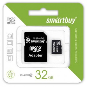 SmartBuy | Карта памяти microSDHC 32 GB Card Class 10 + SD adapter для Huawei Y7 Prime (2018)