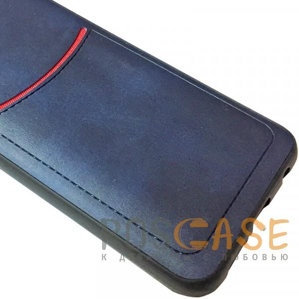 Фотография Синий ILEVEL | Чехол с кожаным покрытием и с карманом-визитницей для Huawei Honor 10