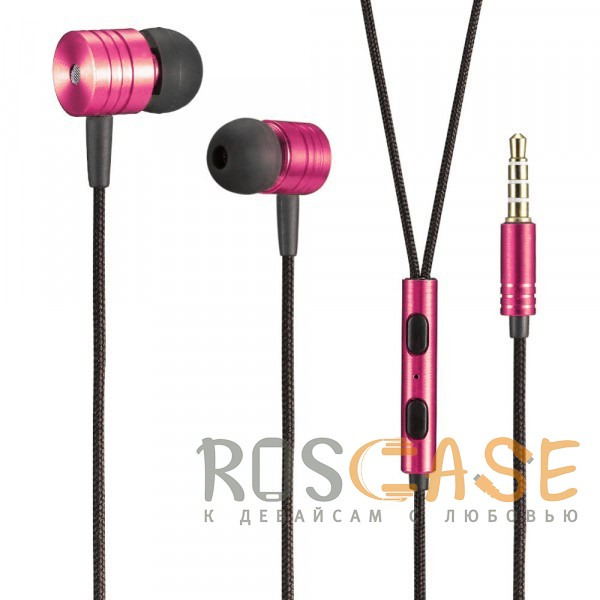 Фото Розовый JX | Металлические наушники с плетеным проводом и пультом