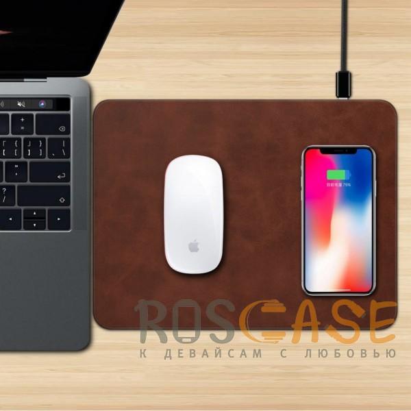 Фотография Темно-коричневый Коврик с беспроводной зарядкой для мыши и телефона