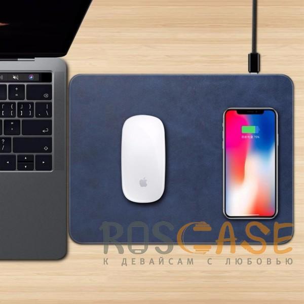 Фотография Синий Коврик с беспроводной зарядкой для мыши и телефона