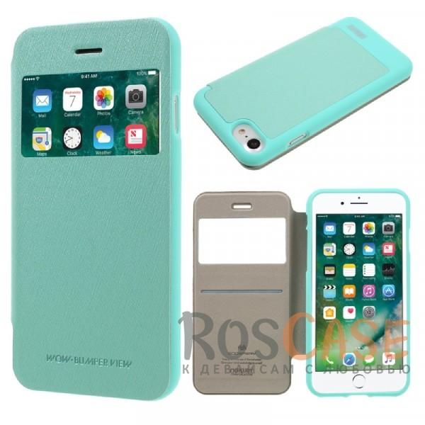 Mercury Wow Bumper   Чехол-книжка для Apple iPhone 7 / 8 (4.7) (Бирюзовый)Описание:компания&amp;nbsp;Mercury;разработан для Apple iPhone 7 / 8 (4.7);материалы  -  искусственная кожа, термополиуретан;тип  -  чехол-книжка.все функциональные вырезы в наличии;слот для визиток;ударопрочный;защищает смартфон со всех сторон;легко устанавливается;не скользит в руках.<br><br>Тип: Чехол<br>Бренд: Mercury<br>Материал: Искусственная кожа