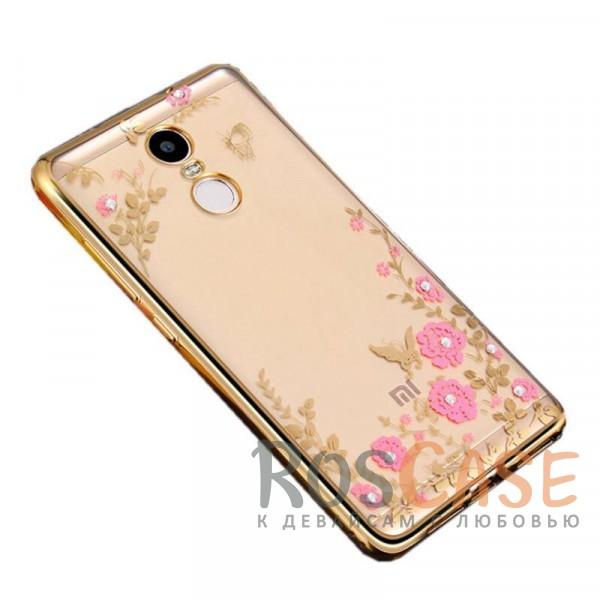 Прозрачный чехол с цветами и стразами для Xiaomi Redmi Note 4 (MTK) с глянцевым бампером (Золотой/Розовые цветы)Описание:совместим с Xiaomi Redmi Note 4 (MTK);материал - термополиуретан;тип - накладка.<br><br>Тип: Чехол<br>Бренд: Epik<br>Материал: TPU