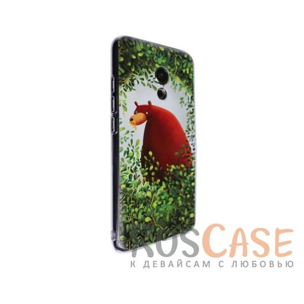 """Фото Тонкий силиконовый чехол """"Медведь в кустах"""" с прозрачными краями для Meizu Pro 6"""