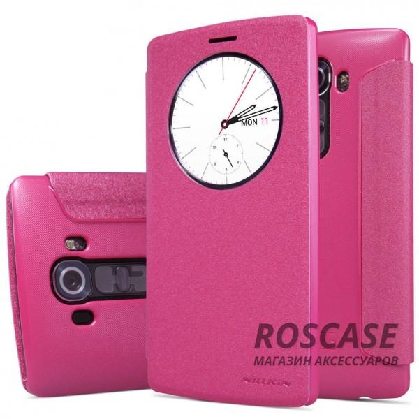 Кожаный чехол (книжка) Nillkin Sparkle Series для LG H815 G4/H818P G4 Dual (Розовый)Описание:бренд&amp;nbsp;Nillkin;совместимость: LG H815 G4/H818P G4 Dual;материалы: искусственная кожа, поликарбонат;тип: чехол-книжка.Особенности:не заметны отпечатки пальцев;защита от механических повреждений;окошко Smart window;не теряет цвет;блестящая поверхность;надежная фиксация.<br><br>Тип: Чехол<br>Бренд: Nillkin<br>Материал: Искусственная кожа