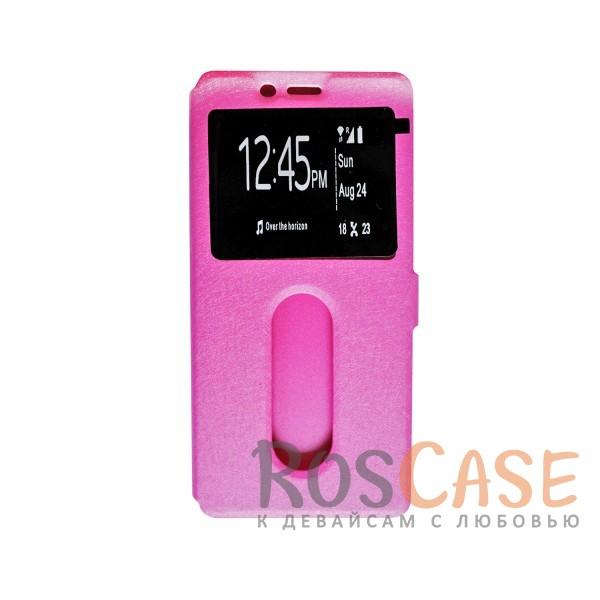 Чехол-книжка подставка на пластиковой основе с окном вызова для OnePlus 3 / OnePlus 3T (Розовый)<br><br>Тип: Чехол<br>Бренд: Epik<br>Материал: Искусственная кожа