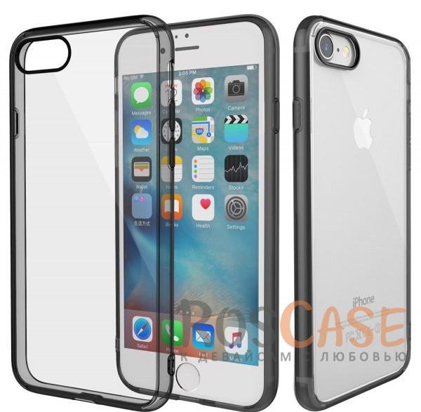 Ультратонкий пластиковый чехол-накладка с дополнительной защитой углов и кнопок для Apple iPhone 7 / 8 (4.7) (Черный / Transparent black)Описание:изготовлен компанией&amp;nbsp;Rock;совместим с Apple iPhone 7 / 8 (4.7);материалы  -  термополиуретан, поликарбонат;тип  -  накладка.&amp;nbsp;Особенности:ультратонкий;в наличии все функциональные вырезы;прозрачная;черная окантовка вокруг камеры для отсутствия блика от вспышки;не скользит в руках;рамка из поликарбоната;защита от царапин и ударов.<br><br>Тип: Чехол<br>Бренд: ROCK<br>Материал: TPU
