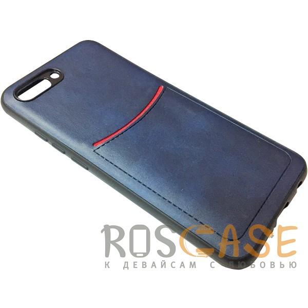 Изображение Синий ILEVEL | Чехол с кожаным покрытием и с карманом-визитницей для Huawei Honor 10