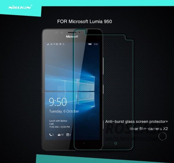 Защитное стекло Nillkin Anti-Explosion Glass Screen (H) для Microsoft lumia 950Описание: изготовитель - компания Nillkin;совместим с мобильным устройством - Microsoft Lumia 950;материал изготовления  -  высококачественное закаленное стекло;тип выпуска  -  защитное стекло.Особенности:тонкий, но максимально прочный корпус;качественная и надежная защита при ударе;стильный дизайн;функции антиблик и антиотпечатки.<br><br>Тип: Защитное стекло<br>Бренд: Nillkin