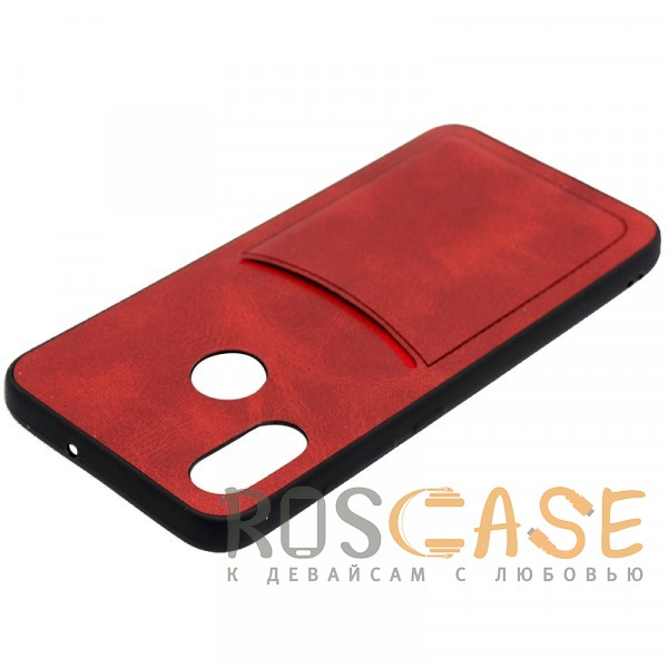 Фото Красный ILEVEL | Чехол с кожаным покрытием и с карманом-визитницей для Xiaomi Mi 8