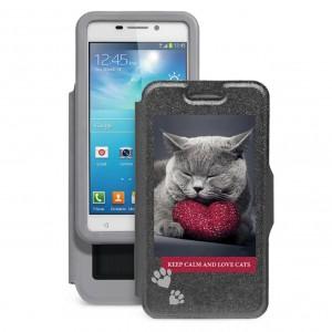 """Gresso """"Пушистики-британец""""   Универсальный чехол-книжка с оригинальным принтом котика для смартфона с диагональю 4.9-5.2 дюйма"""