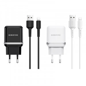 СЗУ Borofone BA25A (2USB / 2.4A) + кабель Lightning 1м для Apple iPhone X