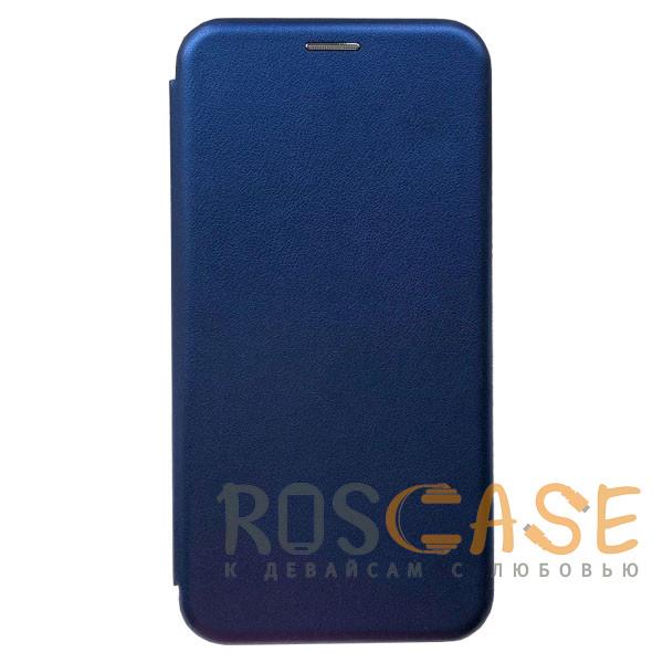 Фотография Синий Open Color | Кожаный чехол-книжка для Xiaomi Redmi 8 с функцией подставки и магнитом