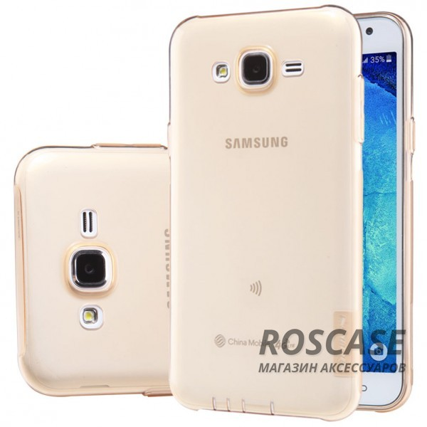 TPU чехол Nillkin Nature Series для Samsung J700H Galaxy J7 (Золотой (прозрачный))Описание:производитель  -  бренд&amp;nbsp;Nillkin;совместим с Samsung J700H Galaxy J7;материал  -  термополиуретан;тип  -  накладка.&amp;nbsp;Особенности:в наличии все вырезы;не скользит в руках;тонкий дизайн;защита от ударов и царапин;прозрачный.<br><br>Тип: Чехол<br>Бренд: Nillkin<br>Материал: TPU