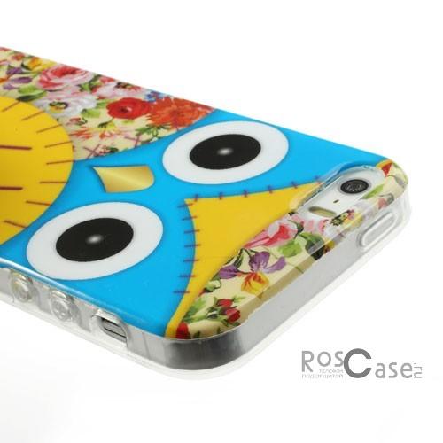 """фото TPU чехол IMD Print """"Сова с цветами"""" для Apple iPhone 5/5S/5SE"""