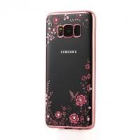 Прозрачный чехол со стразами для Samsung G950 Galaxy S8 с глянцевым бампером