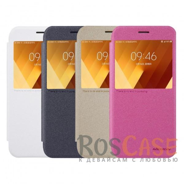 Защитный чехол-книжка с информационным окошком для Samsung A520 Galaxy A5 (2017)Описание:от компании&amp;nbsp;Nillkin;совместим с Samsung A520 Galaxy A5 (2017);материалы: поликарбонат, искусственная кожа;тип: чехол-книжка.<br><br>Тип: Чехол<br>Бренд: Nillkin<br>Материал: Искусственная кожа