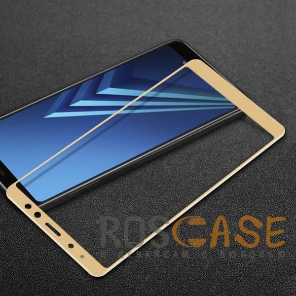 Фото Золотое 5D защитное стекло для Samsung A530 Galaxy A8 (2018) на весь экран