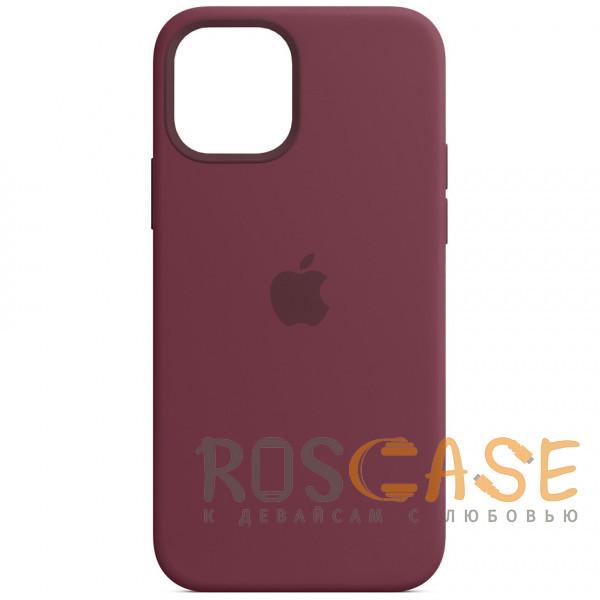 Фото Бордовый Силиконовый чехол Silicone Case с микрофиброй для iPhone 12 Mini